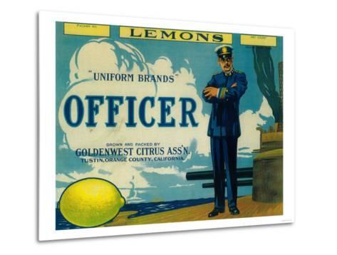 Officer Lemon Label - Tustin, CA-Lantern Press-Metal Print