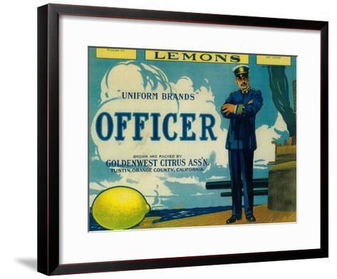 Officer Lemon Label - Tustin, CA-Lantern Press-Framed Art Print