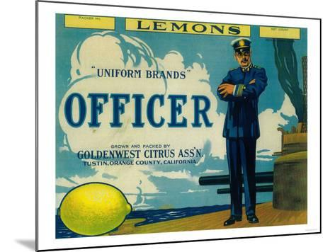 Officer Lemon Label - Tustin, CA-Lantern Press-Mounted Art Print