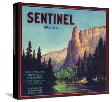 Sentinel Orange Label - Lindsay, CA-Lantern Press-Stretched Canvas Print