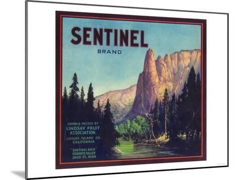 Sentinel Orange Label - Lindsay, CA-Lantern Press-Mounted Art Print