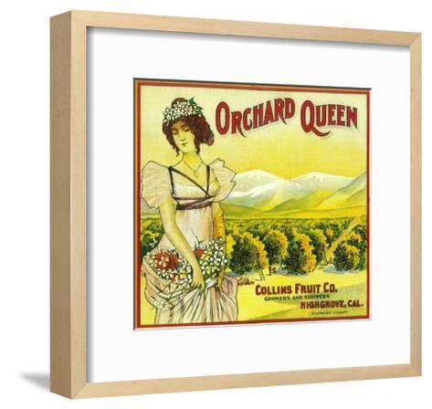 Orchard Queen Orange Label - Highgrove, CA-Lantern Press-Framed Art Print