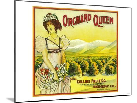 Orchard Queen Orange Label - Highgrove, CA-Lantern Press-Mounted Art Print