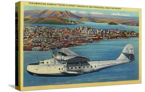 """Pan American Airways """"China Clipper"""" from Orient - San Francisco, CA-Lantern Press-Stretched Canvas Print"""