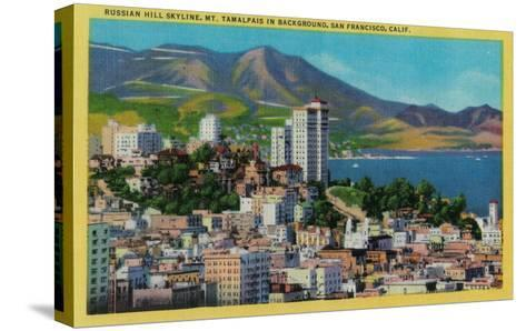 Russian Hill Skyline with Mt. Tamalpais in background - San Francisco, CA-Lantern Press-Stretched Canvas Print