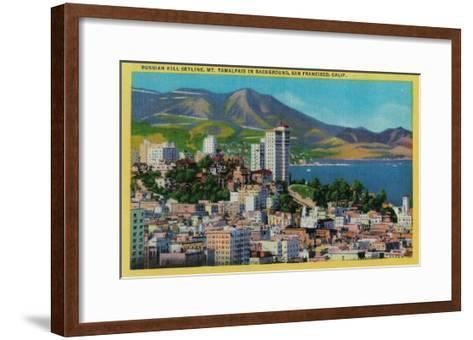 Russian Hill Skyline with Mt. Tamalpais in background - San Francisco, CA-Lantern Press-Framed Art Print