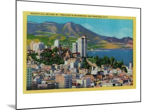 Russian Hill Skyline with Mt. Tamalpais in background - San Francisco, CA-Lantern Press-Mounted Art Print