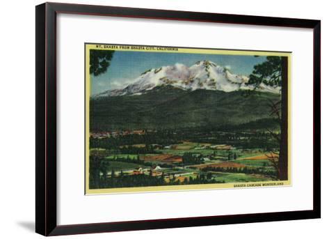 Mt. Shasta View from Shasta City - Shasta, CA-Lantern Press-Framed Art Print