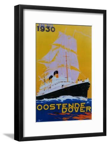 Oostende Dover Vintage Poster - Europe-Lantern Press-Framed Art Print
