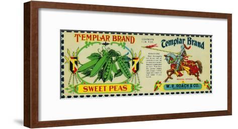 Templar Peas Label - Grand Rapids, MI-Lantern Press-Framed Art Print
