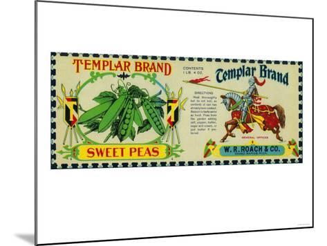 Templar Peas Label - Grand Rapids, MI-Lantern Press-Mounted Art Print