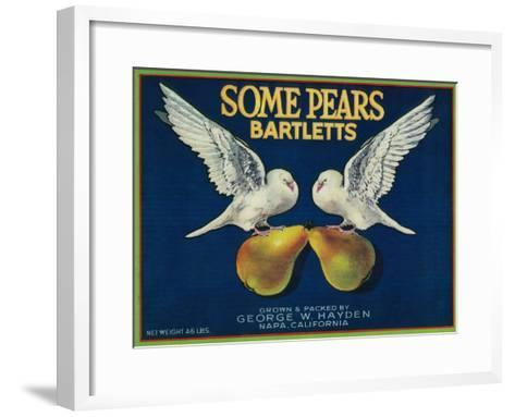 Some Pears Pear Crate Label - Napa, CA-Lantern Press-Framed Art Print