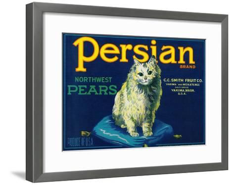 Persian Pear Crate Label - Yakima, WA-Lantern Press-Framed Art Print