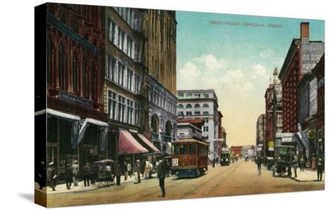 Third Street in Portland, Oregon - Portland, OR-Lantern Press-Stretched Canvas Print