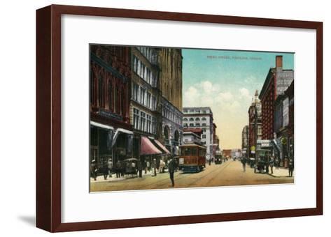 Third Street in Portland, Oregon - Portland, OR-Lantern Press-Framed Art Print