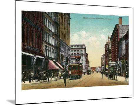 Third Street in Portland, Oregon - Portland, OR-Lantern Press-Mounted Art Print