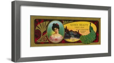 Queen Beauty Soap Label - Logansport, IN-Lantern Press-Framed Art Print