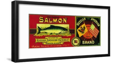 Russian American Salmon Can Label - Karluk, AK-Lantern Press-Framed Art Print
