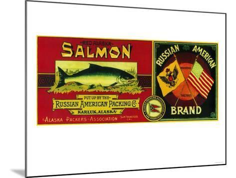 Russian American Salmon Can Label - Karluk, AK-Lantern Press-Mounted Art Print