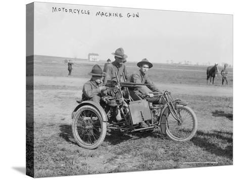 Military Motorcycle with Sidecar and Machine Gun Photograph-Lantern Press-Stretched Canvas Print