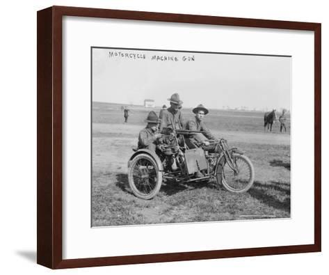 Military Motorcycle with Sidecar and Machine Gun Photograph-Lantern Press-Framed Art Print