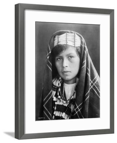 Quinault female Indian Portrait Curtis Photograph-Lantern Press-Framed Art Print