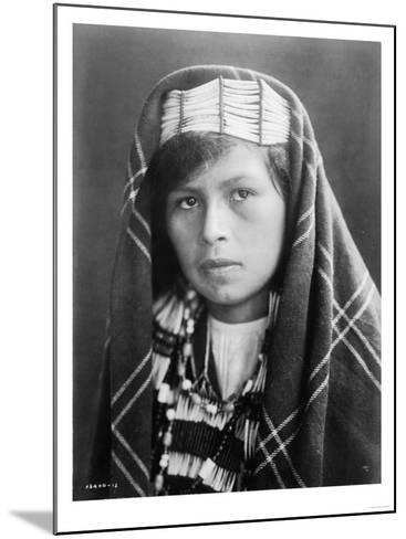 Quinault female Indian Portrait Curtis Photograph-Lantern Press-Mounted Art Print