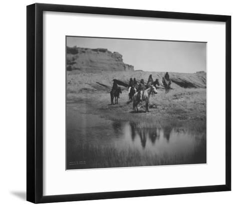 Six Navajo Indians on horseback, at Oasis Curtis Photograph-Lantern Press-Framed Art Print