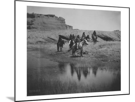 Six Navajo Indians on horseback, at Oasis Curtis Photograph-Lantern Press-Mounted Art Print