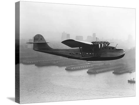 Pan American China Clipper and San Francisco Skyline Photograph No.2 - San Francisco, CA-Lantern Press-Stretched Canvas Print