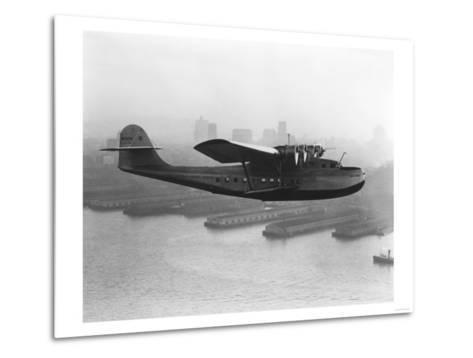 Pan American China Clipper and San Francisco Skyline Photograph No.2 - San Francisco, CA-Lantern Press-Metal Print