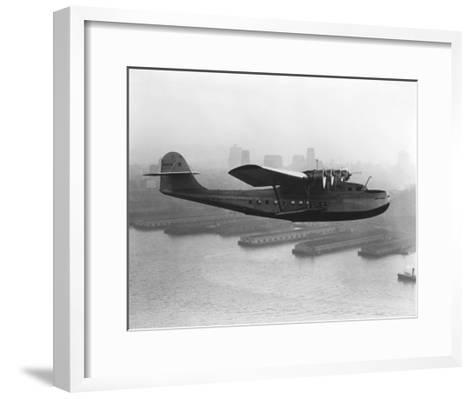 Pan American China Clipper and San Francisco Skyline Photograph No.2 - San Francisco, CA-Lantern Press-Framed Art Print