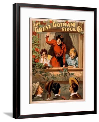 The Great Gotham Stock Co. Theatre Poster-Lantern Press-Framed Art Print