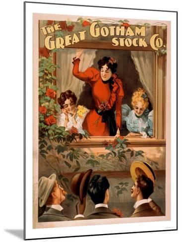 The Great Gotham Stock Co. Theatre Poster-Lantern Press-Mounted Art Print