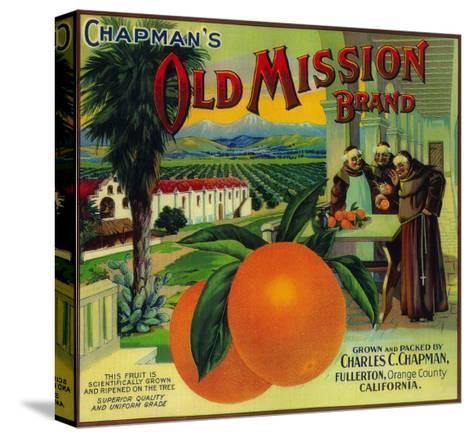 Old Mission Orange Label - Fullerton, CA-Lantern Press-Stretched Canvas Print