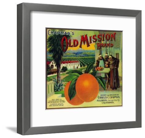 Old Mission Orange Label - Fullerton, CA-Lantern Press-Framed Art Print