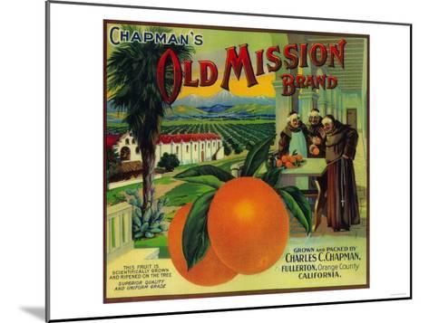Old Mission Orange Label - Fullerton, CA-Lantern Press-Mounted Art Print