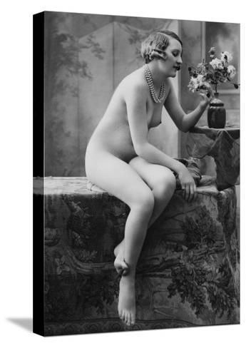 Nude Woman French Art Nouveau Photograph No.5 - France-Lantern Press-Stretched Canvas Print