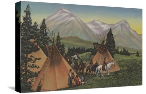 Northwest Indians Returning from Hunting - Northwest USA-Lantern Press-Stretched Canvas Print
