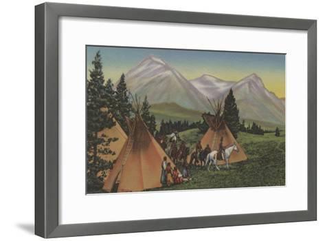 Northwest Indians Returning from Hunting - Northwest USA-Lantern Press-Framed Art Print