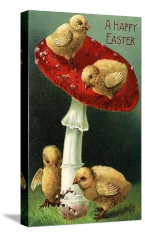 A Happy Easter - Chicks on Red Mushroom-Lantern Press-Stretched Canvas Print