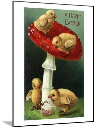 A Happy Easter - Chicks on Red Mushroom-Lantern Press-Mounted Art Print
