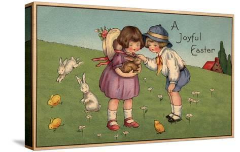 A Joyful Easter - Kids Holding a Bunny-Lantern Press-Stretched Canvas Print