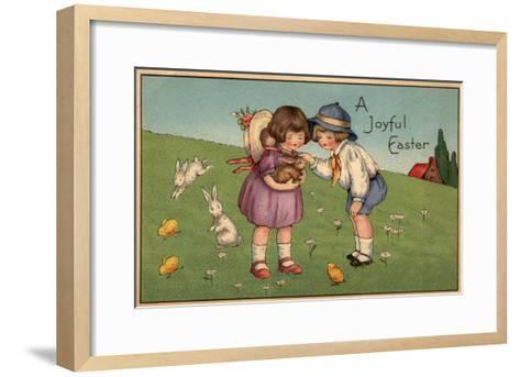 A Joyful Easter - Kids Holding a Bunny-Lantern Press-Framed Art Print