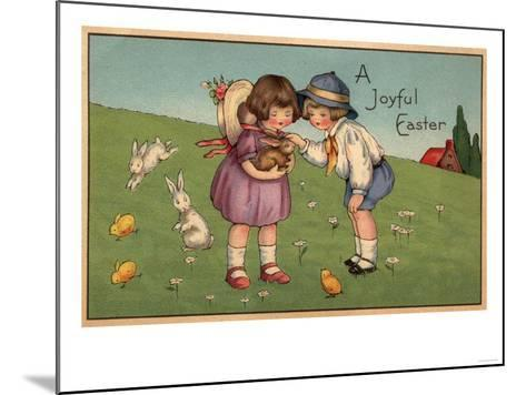 A Joyful Easter - Kids Holding a Bunny-Lantern Press-Mounted Art Print