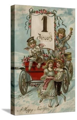 A Happy New Year - Kids Around a Red Wagon-Lantern Press-Stretched Canvas Print