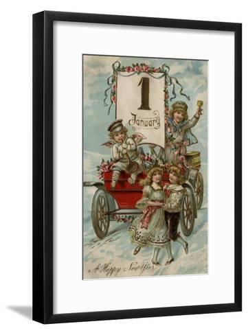 A Happy New Year - Kids Around a Red Wagon-Lantern Press-Framed Art Print