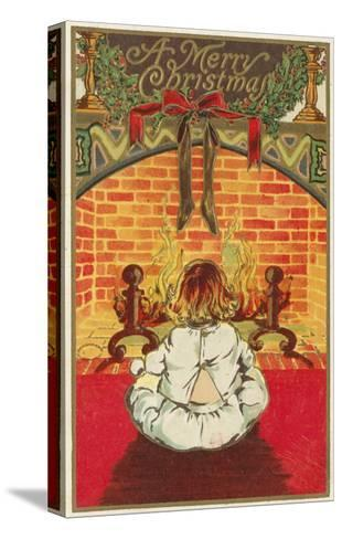 A Merry Christmas - Child in Front of Fireplace-Lantern Press-Stretched Canvas Print