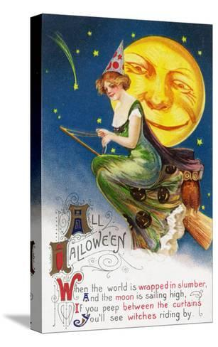 All Halloween Witch on a Broom by Full Moon Scene-Lantern Press-Stretched Canvas Print