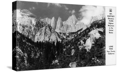 View of Mt. Whitney - Lone Pine, CA-Lantern Press-Stretched Canvas Print